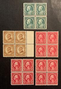 TDStamps: US Stamps Scott#552-554 (5) Mint NH OG #552 Spot on Gum Blocks
