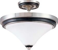 Brushed Nickel With Ebony Wood And Satin White Glass Semi Flush Ceiling Fixture