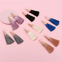 Trendy Women Bohemian Triangle Long Tassel Dangle Statement Earrings Jewelry ~