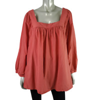 Terra & Sky Peasant Top Plus Size 2X 20/22W Raglan Sleeve 100% Cotton Orange
