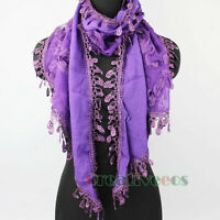 Women Fashion Scarf 3D Flowers Lace Tassel Solid Color Long Scarf Wrap Shawl New