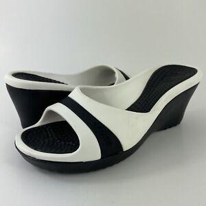 Crocs Sassari Wedge Sandal Heels Black/White Women's Size 7