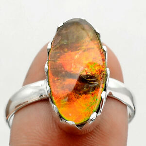 Genuine Canadian Ammolite 925 Sterling Silver Ring s.9.5 Jewelry E683