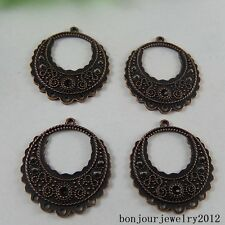 51014 Red Copper Alloy Round Hollow Pattern Connector Pendant Jewelry Charms 23x