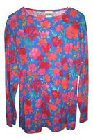 LL Bean Floral COLORFUL Long Sleeve shirt top blouse womens size L Large