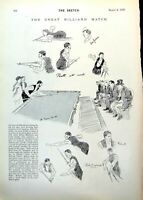 Antique Old Print Great Billiard Match Peall Roberts Action Umpire Crowd 1893