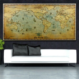 Vintage Style Large The Old World Map Retro Kraft Paper Poster Home Wall Sticker