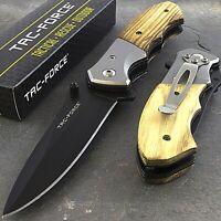 """7"""" TAC FORCE SPRING ASSISTED WOOD HANDLE FOLDING POCKET KNIFE EDC Blade Open"""