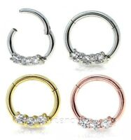 "16GA 3/8"" Anodized Seamless Hinged Segment Ring Triple CZ Hoop Septum Clicker"