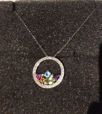 14K WHITE GOLD DIAMOND + ASSORTED COLOURED GEM STONE PENDANT ON 14K CHAIN