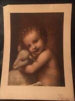 Vintage Catholic Art Print - St. John the Baptist Child with Lamb