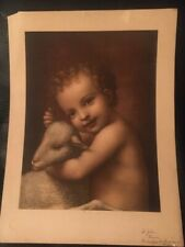 Vintage Catholic Art Print - St. John the Baptist Child with Lamb