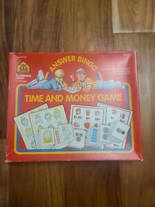 Vintage Time And Money Game Answer Bingo A Learning Game 1989 COMPLETE