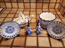 6 X Vestal Hand Painted Portuguese Decorative Pottery Blue and White Ornaments
