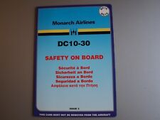Monarch Airlines McDonnell Douglas DC-10-30 Safety Card - Issue 3