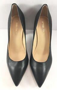 Ivanka Trump Black Leather Itlysa Pointy Toe Block Heel Pumps Women Size US 8.5M