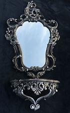 Tablette de miroir mural noir argent avec console / Applique Antique 50X76
