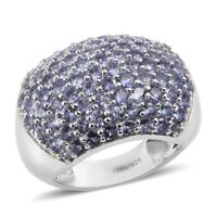 925 Sterling Silver Platinum Over Blue Tanzanite Cluster Ring Gift Size 7 Ct 3.5