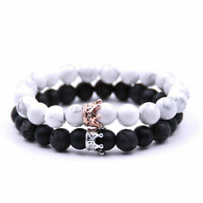 Luxury Distance Couple Bracelets with CZ Crown Her King His Queen Bracelets New
