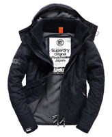 New Mens Superdry premium Quilted Hooded Polar Windcheater French Navy LARGE 13