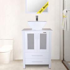 "24"" Bathroom Vanity Round Ceramic Vessel Sink Set Faucet Combo Drain White"