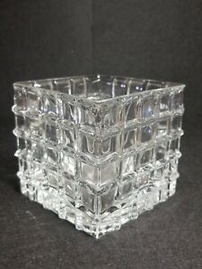 """Clear Square Glass Quilted Prism Cube Candle Holder City Lights Trinket Box 4"""""""