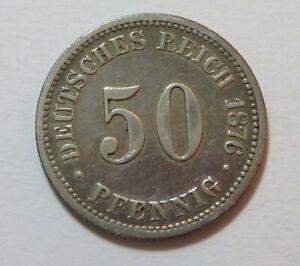 Germany Empire Silver 50 Pfennig 1876, KM 6