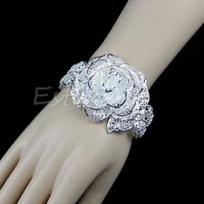 New Free Shipping Fashion Women Solid Silver Plated Flower Bracelet Bangle