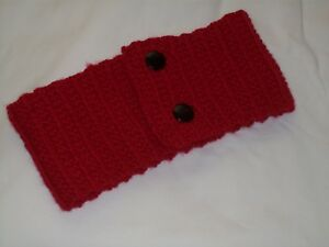 Ladies Hand Knit Red Neckwarmer with Black Buttons - BNWOT