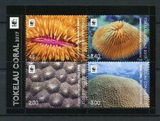 Tokelau 2017 MNH Corals WWF Brain Mushroom Coral 4v M/S Marine Stamps