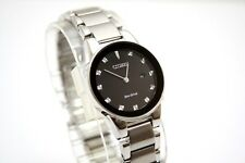 Citizen Axiom Eco-drive Black Dial Women's Stainless Steel Watch Ga1050 $350