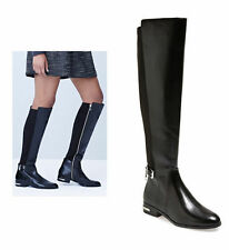 New! MICHAEL KORS Aileen BLACK Leather Elastic Back Tall Riding Boots 5.5 / 35.5