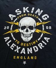 Asking Alexandria Death To Destiny England 2008 T Shirt Skull Lighning Bolts M-L