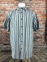BANANA REPUBLIC MEN'S STRIPED COTTON SHORT SLEEVE SHIRT SIZE XL  A42-24