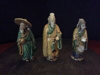 Lot 3 Mud Figurines China Late 19th Early 20th Century