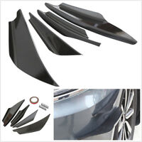 4Pcs Glossy Carbon Fiber Look Car Front Bumper Splitter Spoiler Wing Lip Canards