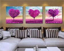 50x50cm Triptychon Malen nach Zahlen DIY Herz Baum Malerei Dekor Rahmenlos 245