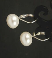 New 9-10mm Natural White Akoya Pearl Leverback Silver Earrings