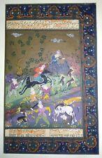 Ottoman Persian Hunting Miniature Art Handmade Hunting Early Persian Painting