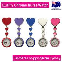Nurse Watch Heart Design Chrome Pendant Clip Pocket Watch for Pouch Pick Bag