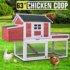 "63"" Deluxe Wood Chicken Coop Poultry Hutch Hen House Backyard Nest Box Run Ramp"