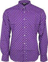 Relco Mens Purple & White Polka Dot Long Sleeved Shirt Mod Skin Retro Indie 60s