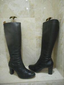Jones High Heeled Black Leather Boots Size 5 38