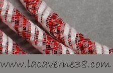 2m résille tubulaire 8 mm rouge et blanc création collier bracelet boucle bijoux