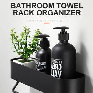 Bathroom Shelf Rack Kitchen Wall Shelves Bath Towel Holder Black Shower Storage