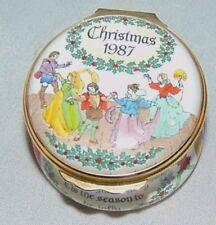 HALCYON DAYS ENAMEL 1987 ENGLAND TRINKET BOX CHRISTMAS DECK THE HALLS