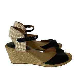 Lucky Brand Womens Size 8 Kyndra Open Toe Espadrille Wedges Black Cream