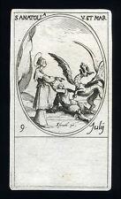 santino incisione 1600 S.ANATOLIA V. M.  j. callot