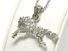 Crystal Stud Horse Equestrian Pendant NECKLACE White Gold Plating Pony NEW