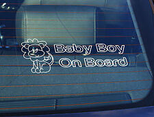 Static Cling Window Car Sign/Decal Baby Boy on Board Lion 100mm x 250mm